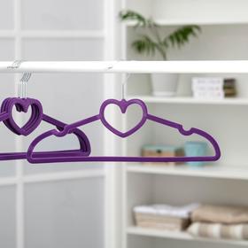 Вешалка-плечики для одежды «Сердце», размер 44-46, флокированное покрытие, цвет МИКС