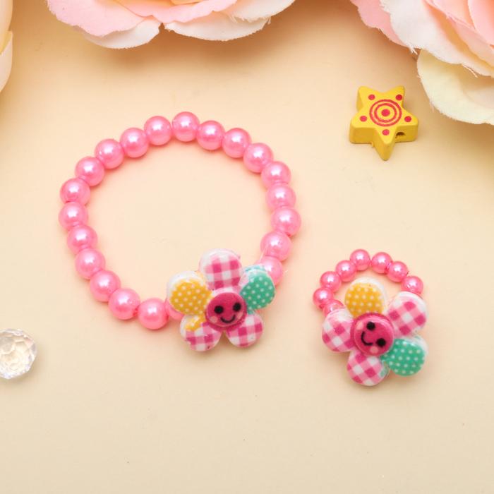 Набор детский Выбражулька 2 предмета браслет, кольцо, цветочки веселые, цвет МИКС