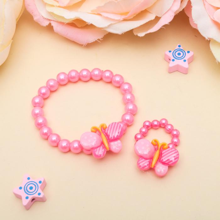 Набор детский Выбражулька 2 предмета браслет, кольцо, бабочки в горошек, цвет МИКС