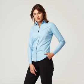 Рубашка женская с рельефами, размер 46, голубой, хлопок 100% Ош