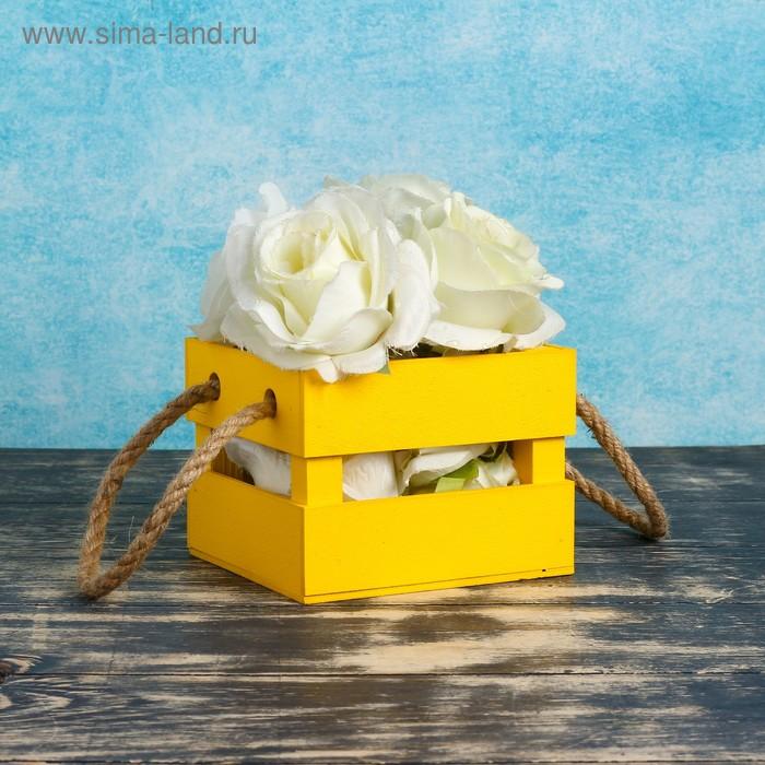 """Кашпо деревянное 12×11×9 см """"Однушка Лайт"""", двухреечное, ручка верёвка, жёлтый Дарим Красиво"""