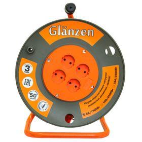 Удлинитель на катушке Glanzen, 4 розетки, 50 м, IP20, ПВС 2х1,5 EB-50-006 Ош