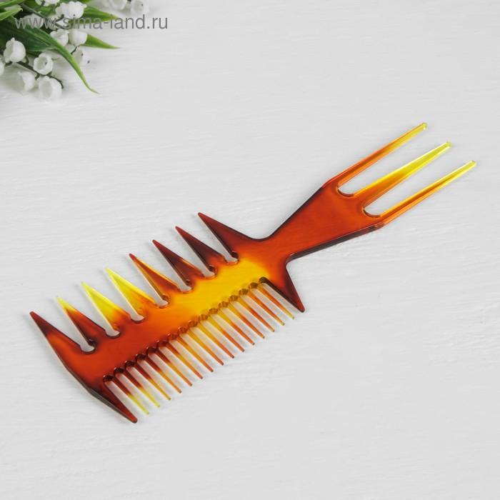 Расчёска трёхсторонняя, цвет янтарный