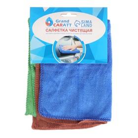 Салфетка для автомобиля TORSO, микрофибра, тонкая, 20×30 см, набор 3 шт., микс