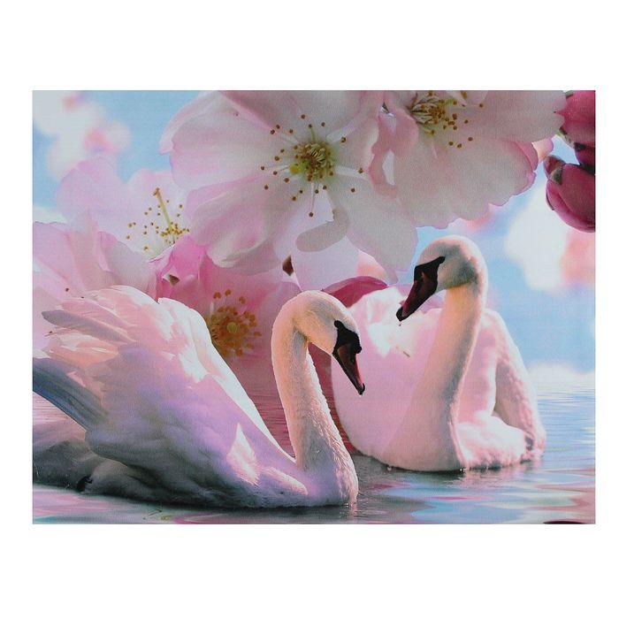 Картина на холсте Лебеди под цветами 30х40 см