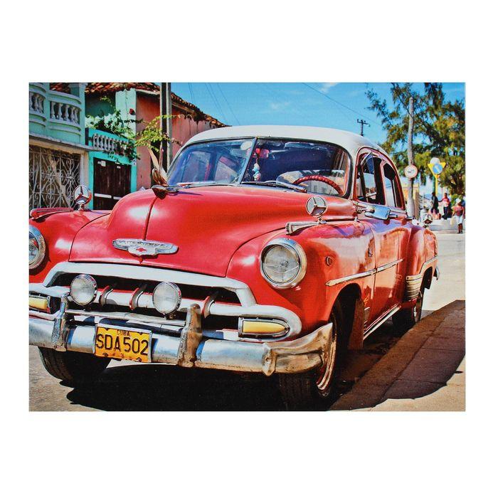 Картина на холсте Красный ретромобиль 30х40 см