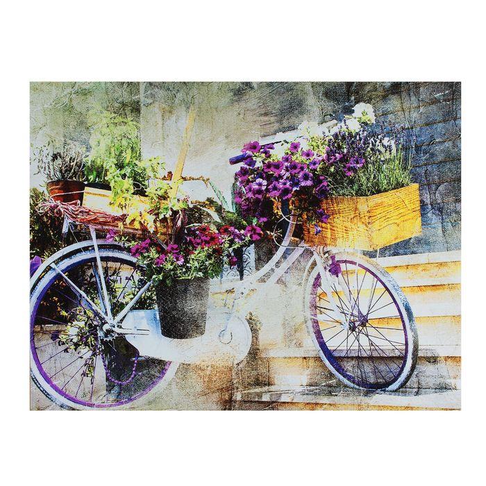 Картина на холсте Цветочный велосипед 30х40 см