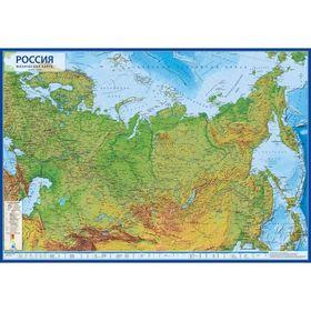 Интерактивная карта России физическая, 101 x 70 см, 1:8.5 млн, без ламинации
