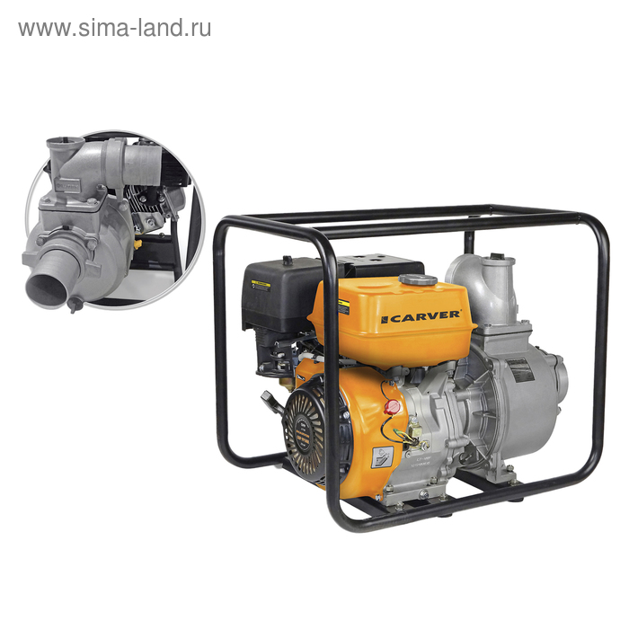 Мотопомпа Carver CGP 99100 E, 4Т, 6.7 кВт/9 л.с., 270 см3, электростарт, глубина 7 м