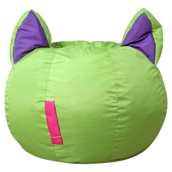 Кресло-мешок Ушастик-Кот d50/h45 цв зеленый/фиолетовый нейлон 100% п/э