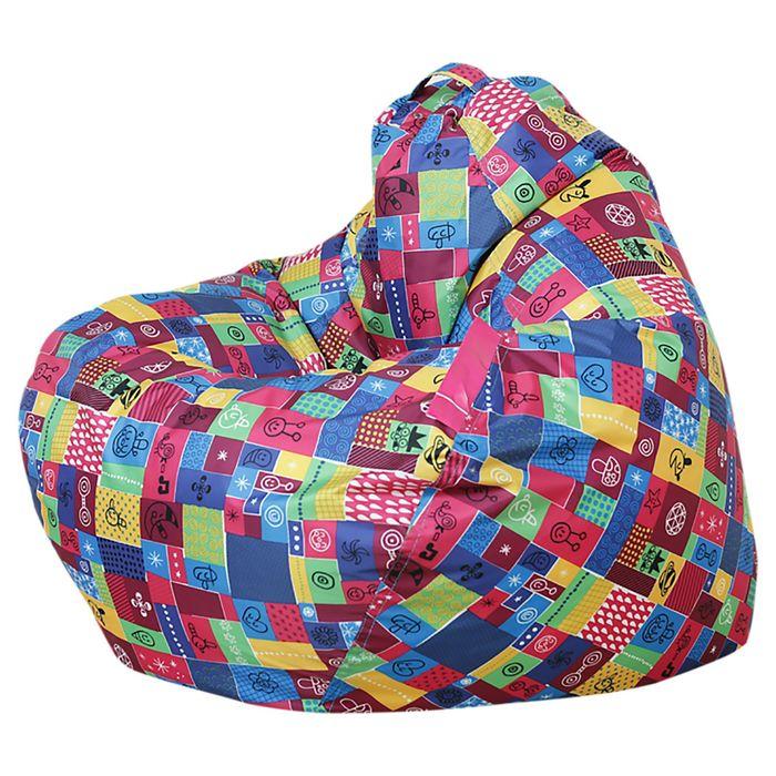 Кресло-мешок «Малыш», цвет бордовый/лоскутки, нейлон