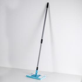 Швабра плоская, телескопическая ручка 60-120 см, насадка микрофибра 20×10 см, цвет МИКС