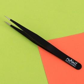 Пинцет для ресниц, прямой, цвет чёрный