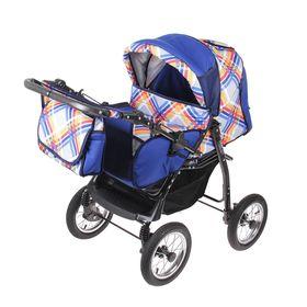 Коляска-трансформер «Гном», надувные колёса, оттенки синего, рисунок МИКС Ош