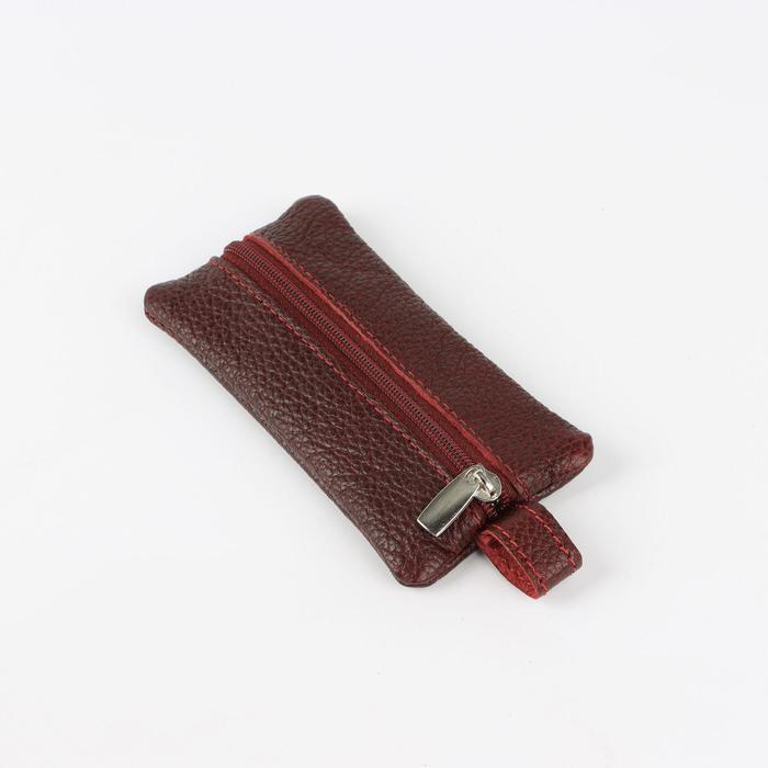Ключница, длина 12 см, отдел на молнии, кольцо, цвет бордовый