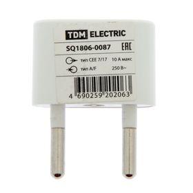 Переходник TDM, 10 А, 250 В, тип CEE 7/17 - тип А/F, плоский, белый Ош