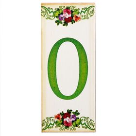 Цифра дверная из дерева '0', цветочный стиль, 3*7 см Ош