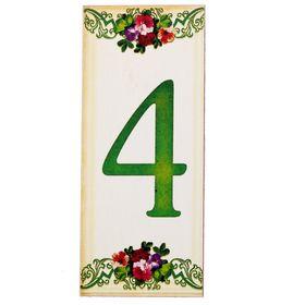 Цифра дверная из дерева '4', цветочный стиль, 3*7 см Ош