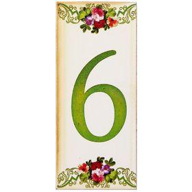 Цифра дверная из дерева '6', цветочный стиль, 3*7 см Ош