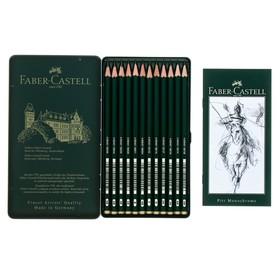 Набор карандашей чернографитных разной твердости Faber-Castel CASTELL 9000, 12 штук, 4B-6H, металлический пенал