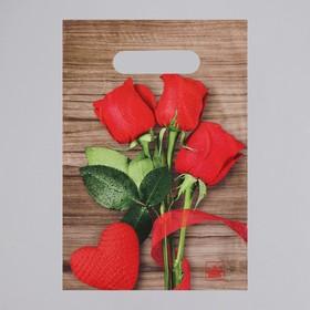"""Пакет """"Свежие розы"""", полиэтиленовый с вырубной ручкой, 20 х 30 см, 30 мкм"""