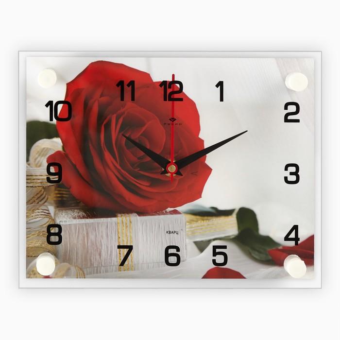 Часы настенные, серия Цветы, Роза с подарком, 20х26 см микс