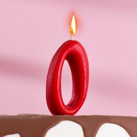 Свеча для торта цифра 'Овал' '0', красная Ош