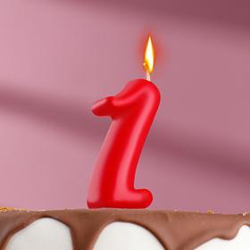 Свеча для торта цифра 'Овал' '1', красная Ош