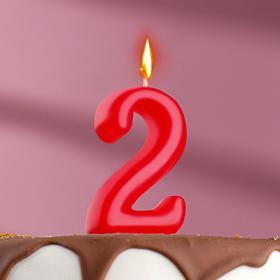 Свеча для торта цифра 'Овал' '2', красная Ош