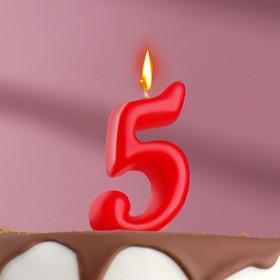 Свеча для торта цифра 'Овал' '5', красная Ош