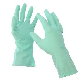 Перчатки хозяйственные резиновые размер L, лёгкие, прочные, пара, цвет зелёный