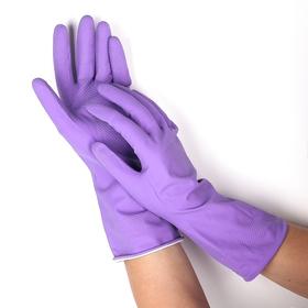 Перчатки резиновые, с хлопковым напылением, размер L, цвет МИКС