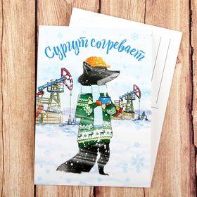 Открытка на дизайнерском картоне «Сургут. Лис», иллюстрация художника Ош