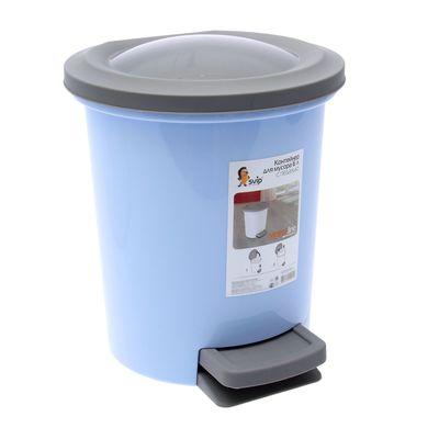 Ведро для мусора с педалью, 6 л, цвет МИКС - Фото 1