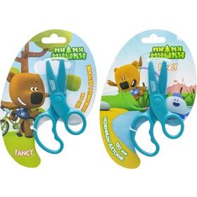 Ножницы детские 13 см, «МиМиМишки», безопасные, пластиковые лезвия, картонная упаковка с европодвесом, МИКС