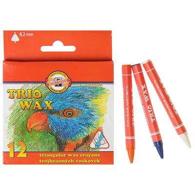 Мелки восковые 12 цветов 7.8 мм, Koh-I-Noor 8272/12, трехгранные, в картонной упаковке, L=90 мм