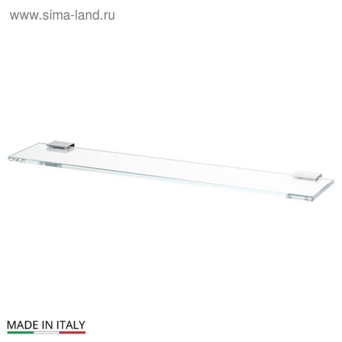 Полка с держателями, ширина 60 см, стекло, хром-стразы