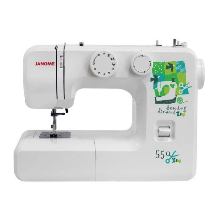 Швейная машина Janome 550, 15 опер, обметочная, эластичная, потайная строчка, белый