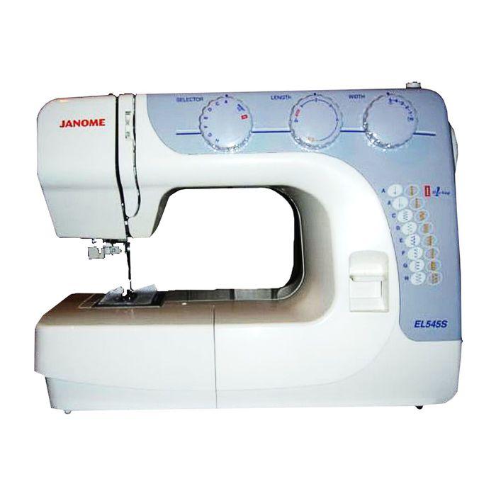 Швейная машина Janome EL545S, 85 Вт, 15 операций, автомат, бело-голубая