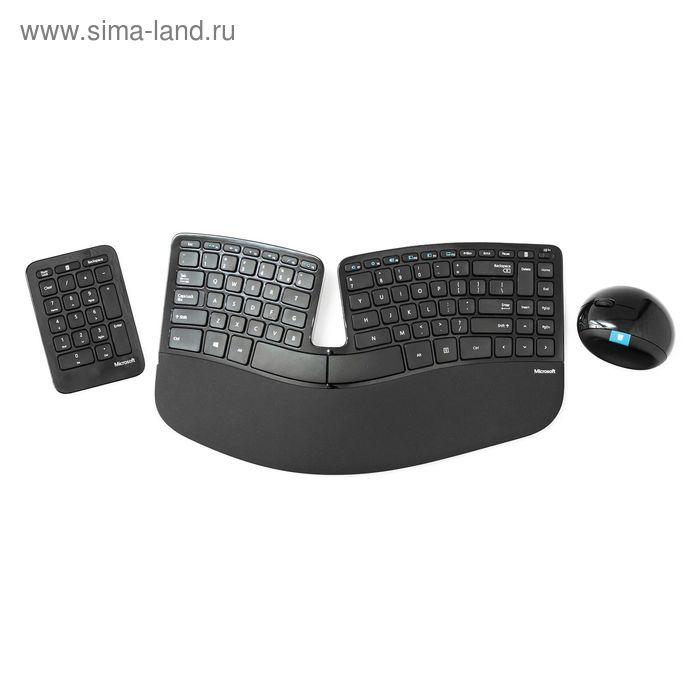 Комплект клавиатура и мышь Microsoft Sculpt Ergonomic, беспроводной, мембранный, USB,черный