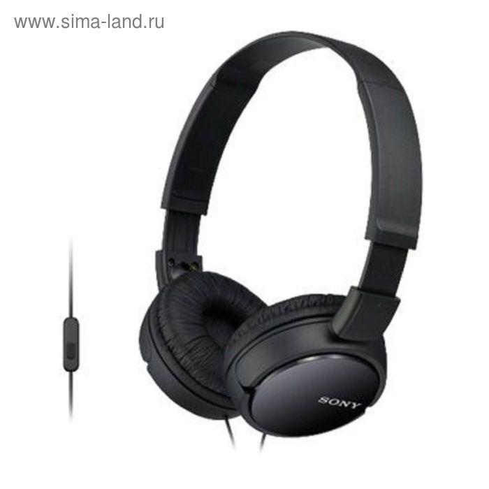 Наушники с микрофоном Sony MDRZX110APB.CE7, накладные, оголовье, провод 1.2 м, черные
