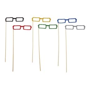 Аксессуары для фотосессии «Квадратные очки», на палочке, цвета МИКС Ош