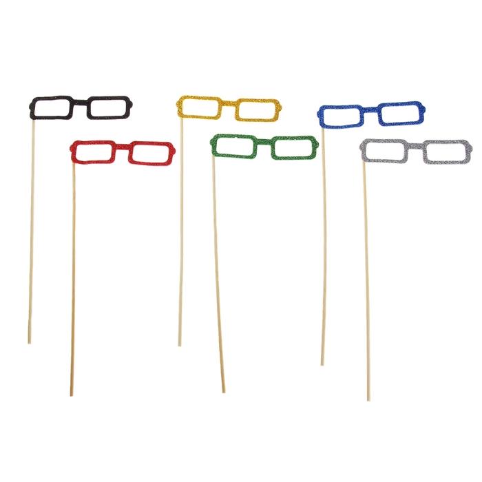 Аксессуары для фотосессии Квадратные очки, на палочке, цвета МИКС