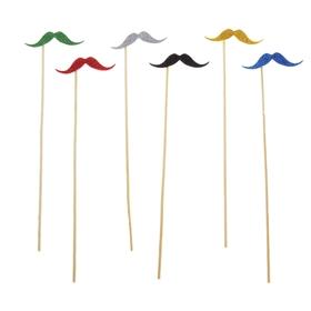 Аксессуары для фотосессии «Джентльмен», на палочке, усы, цвета МИКС