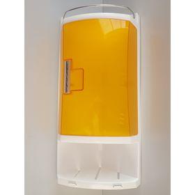 Шкафчик угловой для ванной с 2-мя открытыми полками и 1-ой полкой с дверкой, цвет прозрачно-оранжевы Ош