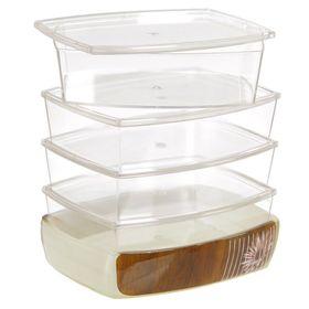 Набор контейнеров на подставке 4 шт Ashley, 200 мл, цвет коричневый
