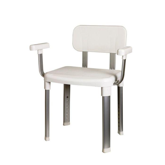 Стул-кресло с подлокотниками белое с регулируемой высотой, нагрузка до 130 кг