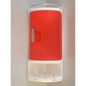 Шкафчик угловой для ванной с 2-мя открытыми полками и 1-ой полкой с дверкой, цвет прозрачно-красный Ош