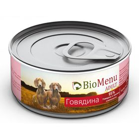 Консервы BioMenu ADULT для собак говядина 95%-мясо , 100гр Ош