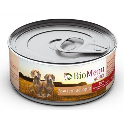 Консервы BioMenu ADULT для собак мясное ассорти 95%-мясо , 100гр - Фото 1